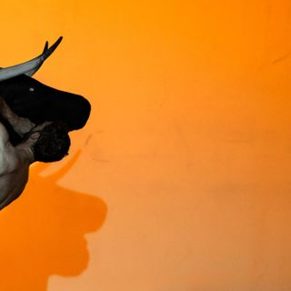 A naked male dancer with a fake black bull against an orange background