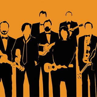 Black and orange illustration of The Ukulele Orchestra of Great Britain
